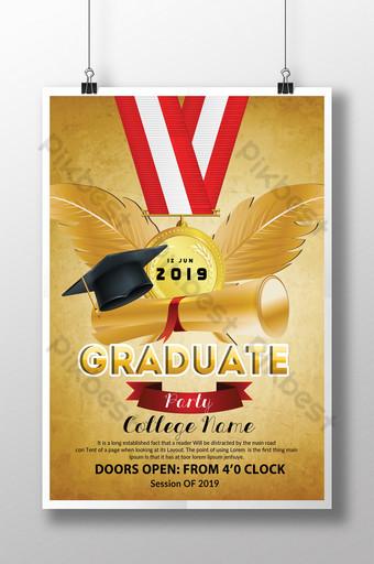 Flyer de graduation vintage dans un modèle de style doré Modèle PSD