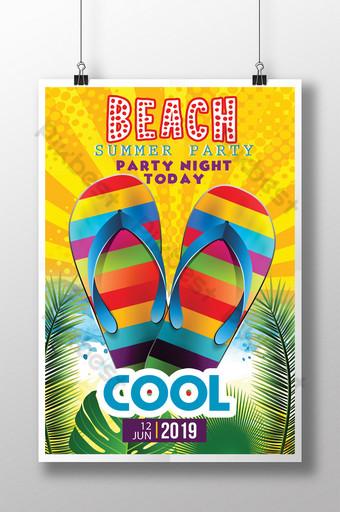 Plaisirs de plage d'été jaune dans des modèles de flyers de style tropical Modèle PSD