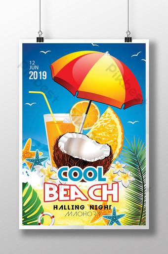 Modèle de Flyer de nouvelle fête à la plage avec orange et jus de noix de coco Modèle PSD
