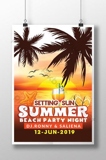 el verano está aquí poniente silueta de sol en plantillas de volantes de estilo tropical Modelo PSD