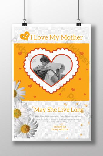 Bonne fête des mères avec des modèles de flyers de cadre centré et en forme de coeur Modèle PSD