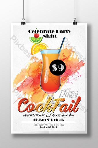 Modèle de Flyer de cocktail d'été simple et coloré Modèle PSD