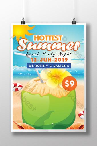Modèle de Flyer de fête de plage d'été de style tropical Modèle PSD