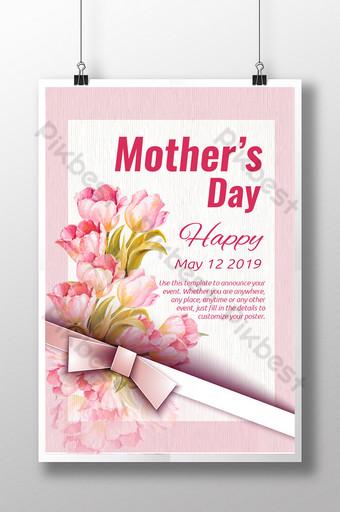 cinta del día de la madre flores elegantes cartel simple Modelo AI
