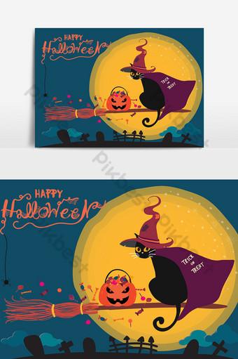 tarjeta de halloween con lindo gato negro montado en una flor de bruja Elementos graficos Modelo AI