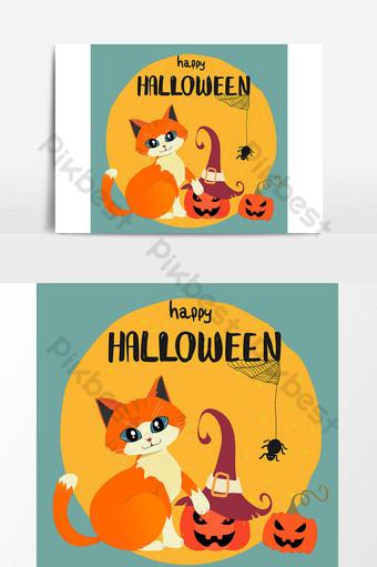 Carte Happy Halloween avec chat orange dessiné à la main et citrouilles contre la pleine lune Modèle AI