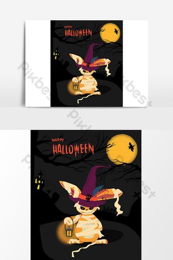 Carte d'Halloween avec un lapin monstre tenant un lampton Modèle AI