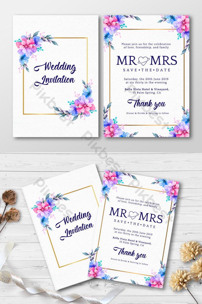 การ์ดเชิญงานแต่งงานดอกไม้สไตล์ดอกไม้สวยงาม