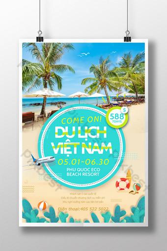 Vietnam 7 Days Beach Vacation Tour Poster Template PSD