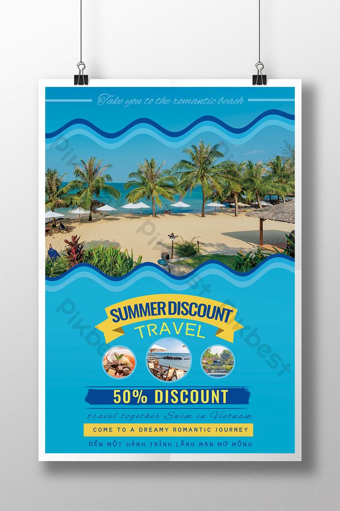 poster giảm giá mùa hè du lịch việt nam làn sóng xanh