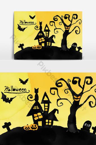 tema de halloween silueta de acuarela casa embrujada y cementerio Elementos graficos Modelo AI