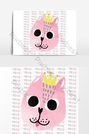 chat drôle aquarelle rose avec carte de joyeux anniversaire couronne Éléments graphiques Modèle AI