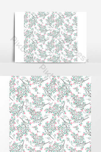 زهرة وردية أوراق خضراء نمط سلس صور PNG قالب AI