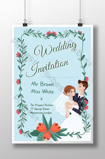 Carte d'invitation heureuse de fleurs mariées entourées de nouveaux mariés Modèle PSD