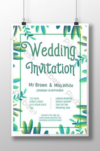 Carte d'invitation fraîche et naturelle de bordure de plante de mariage Modèle PSD