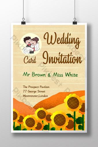 Carte d'invitation manuscrite fraîche et naturelle de tournesol de plante de mariage Modèle PSD