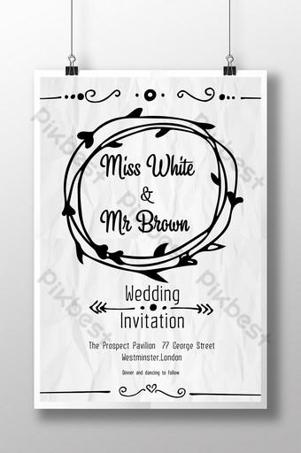 Carte d'invitation simple de dessin de ligne fraîche de papier de mariage Modèle AI