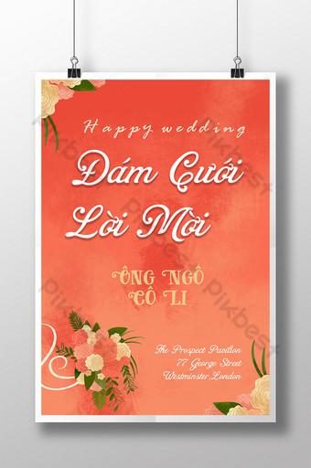 Texture de peinture à l'huile de mariage heureux tenant une carte d'invitation de fleur Modèle PSD