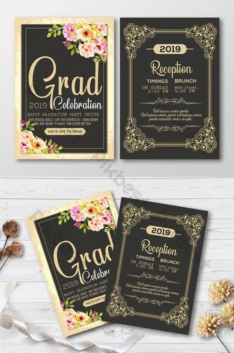 Modèle d'invitation de graduation dans un style de luxe avec cadre doré Modèle PSD