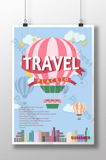 khinh khí cầu du lịch thành phố phim hoạt hình vẽ tay kỳ nghỉ poster Bản mẫu PSD