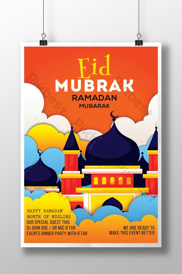 modelos de folhetos happy ramadan psd com mesquitas em estilo cartoon