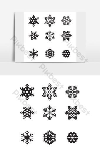 ندفة الثلج الشتوية مجموعة من تسعة صور أيقونة سوداء على خلفية بيضاء قالب AI