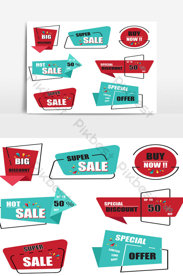 vector collection of modern origami sale label and tags 09