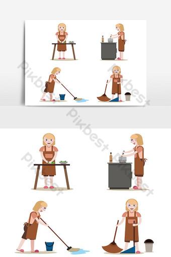 الخادمات عمل مجموعة النساء مع معدات التنظيف معزولة ناقلات مدبرة المنزل job صور PNG قالب AI