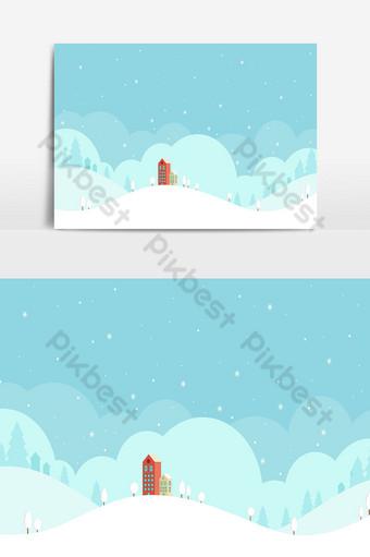 fondo de navidad y paisaje en día de nieve Elementos graficos Modelo AI