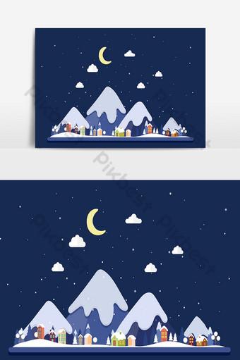 Fondo de navidad y paisaje con montañas cubiertas de nieve por la noche Elementos graficos Modelo AI