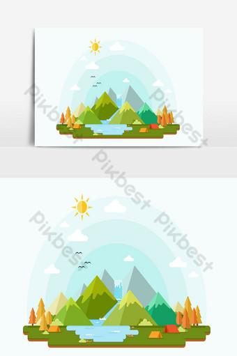 Fondo de navidad y paisaje con montañas y río durante el día Elementos graficos Modelo AI