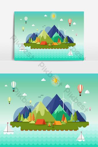 Fondo de navidad y paisaje con casas y montañas. Elementos graficos Modelo AI