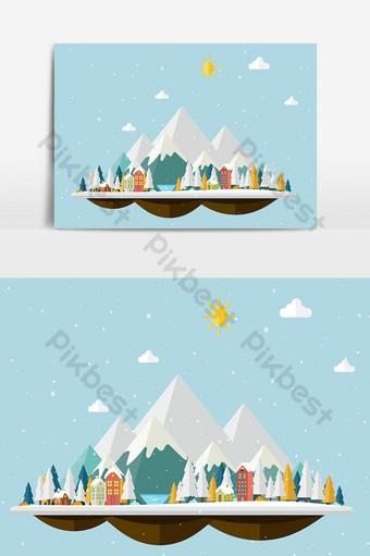 Fondo de navidad y paisaje con árboles, casas y montañas cubiertas de nieve. Elementos graficos Modelo PSD