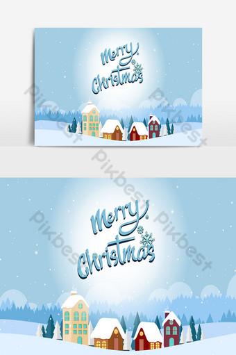 Fondo de navidad y paisaje con árboles y casas en el mundo de hielo 03 Elementos graficos Modelo PSD
