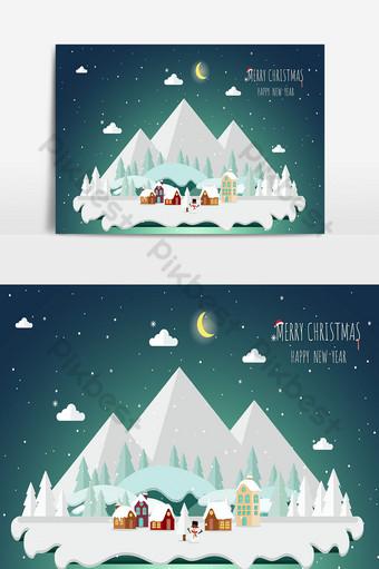 Fondo de navidad y paisaje con árboles y casas en el mundo de hielo Elementos graficos Modelo PSD