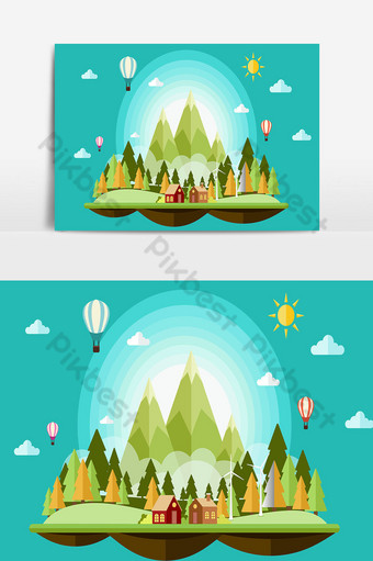 Fondo de navidad y paisaje con árboles y casas. Elementos graficos Modelo AI