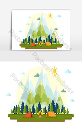 navidad y paisaje de árboles y casas de fondo Elementos graficos Modelo AI