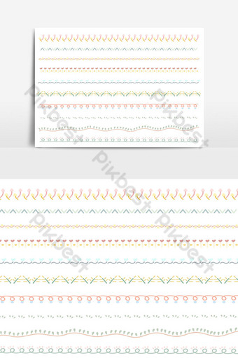 Beautiful vector line border set and scribble design element 20 PNG Images Template PSD