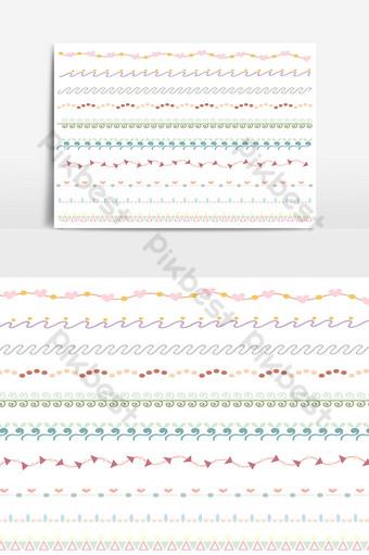 hermoso conjunto de borde de línea vectorial y elemento de diseño de garabatos 19 Elementos graficos Modelo AI