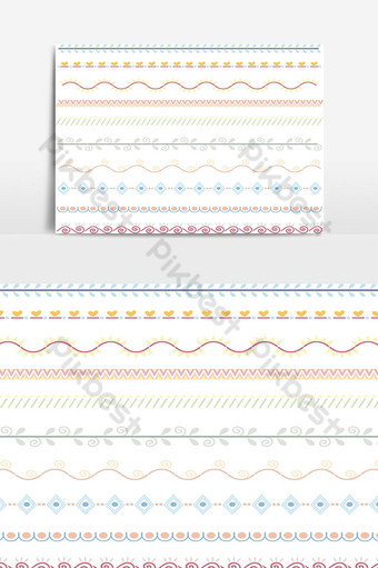 Beautiful vector line border set and scribble design element 18 PNG Images Template PSD