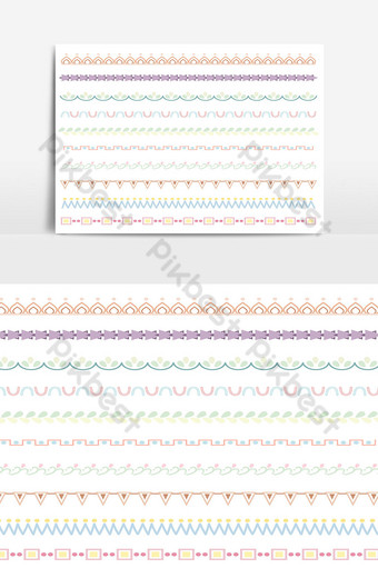 Beautiful vector line border set and scribble design element 17 PNG Images Template AI