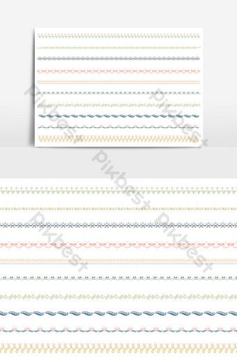 hermoso conjunto de borde de línea vectorial y elemento de diseño de garabatos 16 Elementos graficos Modelo PSD