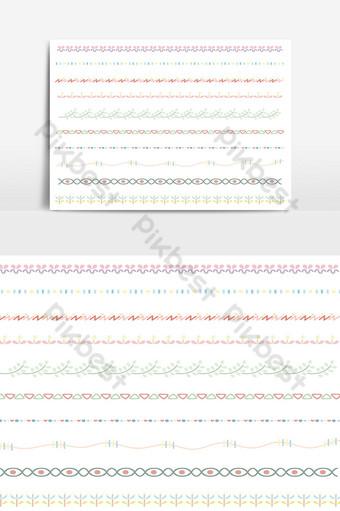 hermoso conjunto de borde de línea vectorial y elemento de diseño de garabatos 14 Elementos graficos Modelo AI