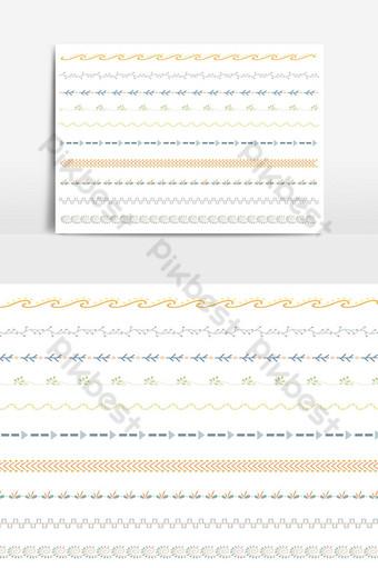 hermoso conjunto de borde de línea vectorial y elemento de diseño de garabatos 13 Elementos graficos Modelo AI
