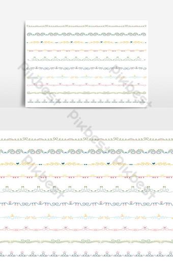 hermoso conjunto de borde de línea vectorial y elemento de diseño de garabatos 12 Elementos graficos Modelo AI