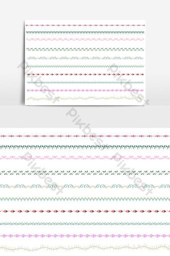 hermoso conjunto de borde de línea vectorial y elemento de diseño de garabatos 11 Elementos graficos Modelo AI