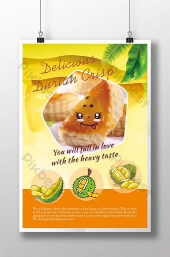 poster thức ăn sầu riêng màu vàng Bản mẫu CDR