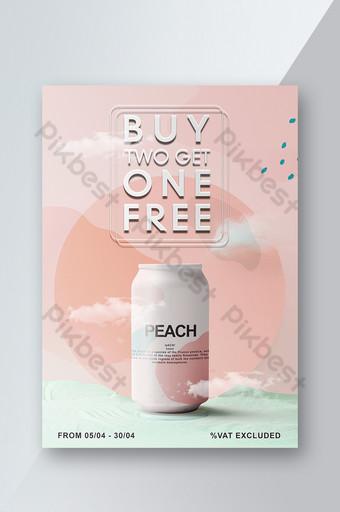 Flyer de promotion de belles boissons d'été sur fond rose élégant Modèle PSD
