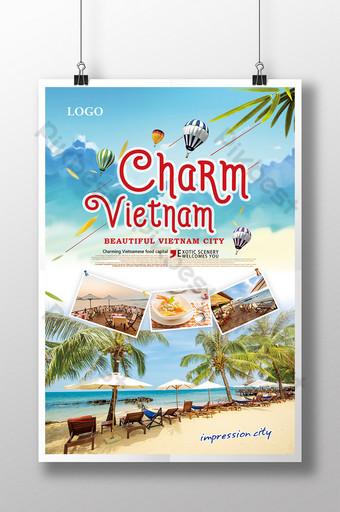 cartel de viaje de vietnam de moda viajes por la playa cartel de bienes raíces de turismo de comida vietnamita Modelo PSD
