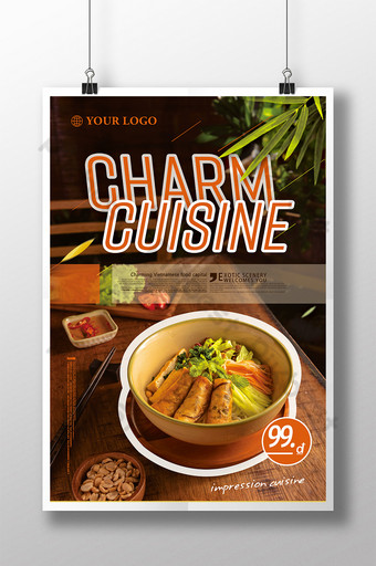 Fashionable Vietnamese food poster Food single page design Food Carnival Food signboard Template PSD